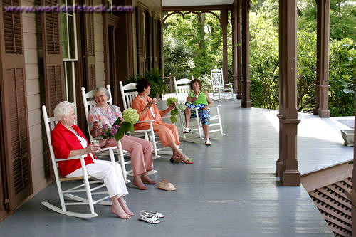 women in rocking chairs