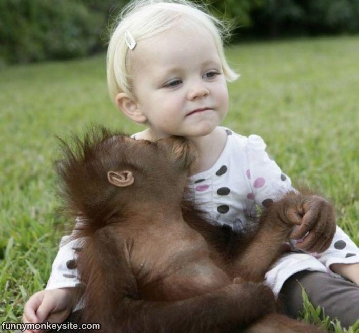 girl and monkey