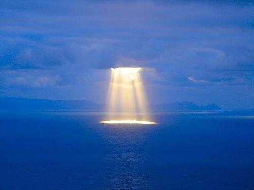 light on ocean