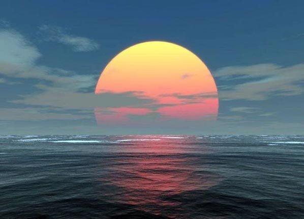 huge sunset on ocean