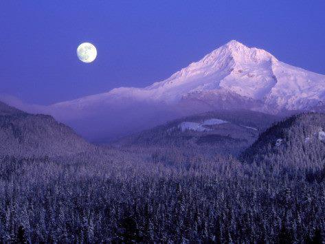 full moon purple mountains